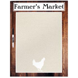 Farmer's Market Rustic Country Farmhouse White Hen Dry-Erase Board