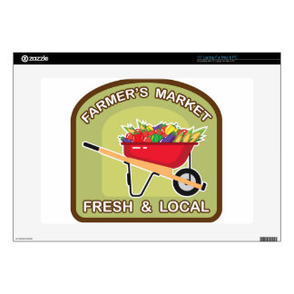 """Farmer's Market Sign Fresh and Local 15"""" Laptop Decal"""