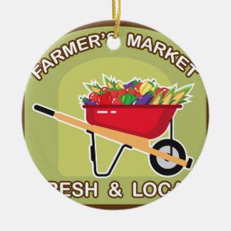 Farmer's Market Sign Fresh and Local Ceramic Ornament