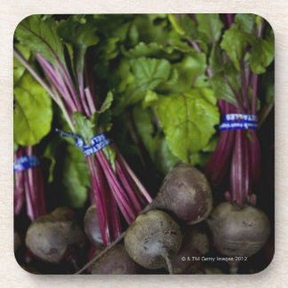 farmers market stand with various produce/ 2 beverage coaster