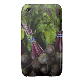 farmers market stand with various produce/ 2 iPhone 3 cases