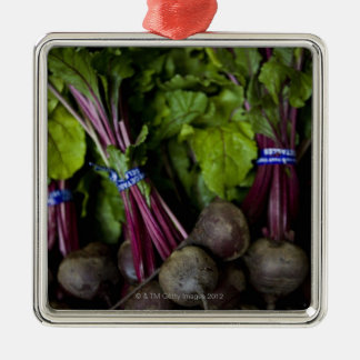 farmers market stand with various produce/ 2 christmas tree ornament