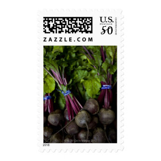 farmers market stand with various produce/ 2 postage