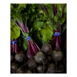 farmers market stand with various produce/ 2 poster