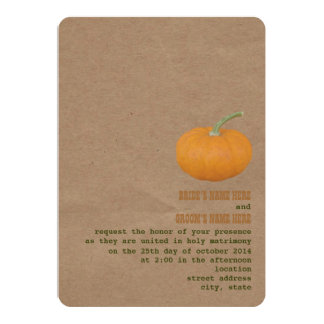"Farmer's Market Theme Wedding Invite | Pumpkin 5"" X 7"" Invitation Card"