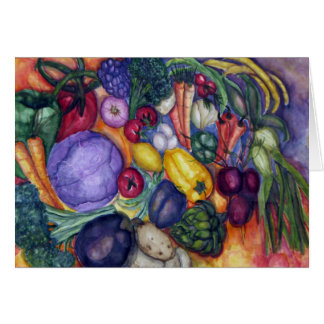 Farmer's Market Vegetable watercolor art Card