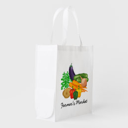 Farmer's Market Vegetables Reusable Grocery Bag