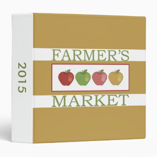 Farmers Market With Four Apples 3 Ring Binder