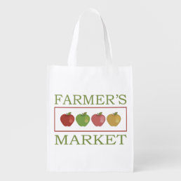 Farmers Market With Four Apples Reusable Grocery Bag