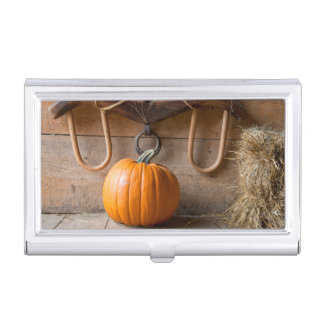 Farmers Museum. Pumpkin in barn with bale of hay Business Card Case
