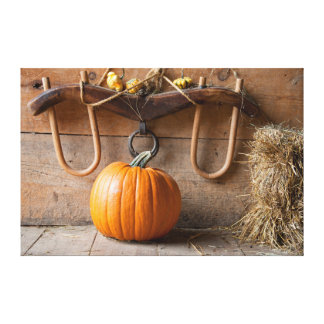 Farmers Museum. Pumpkin in barn with bale of hay Canvas Print