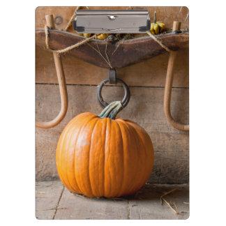 Farmers Museum. Pumpkin in barn with bale of hay Clipboard