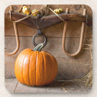 Farmers Museum. Pumpkin in barn with bale of hay Coaster