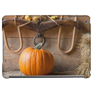 Farmers Museum. Pumpkin in barn with bale of hay iPad Air Cases