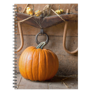 Farmers Museum. Pumpkin in barn with bale of hay Spiral Notebook