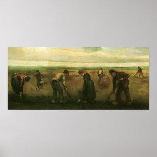 Farmers Planting Potatoes Van Gogh Fine Art Poster