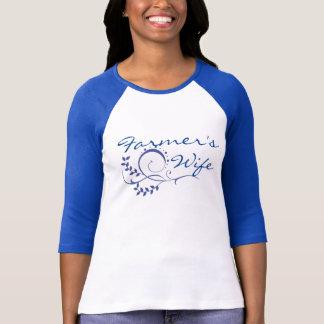Farmer's Wife, Flowers Flourish, Blue T-shirt