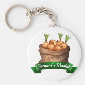 Farmers's market basic round button keychain