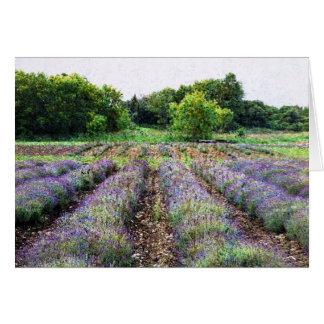 farmfield de la lavanda en diseñar impresionista tarjeton