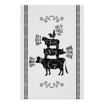 Farmhouse Animals Tower with Scrolls Black Poster