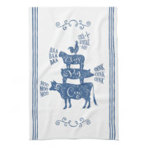 Farmhouse Animals Tower with Scrolls Blue Hand Towel