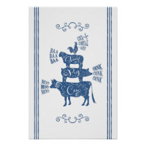 Farmhouse Animals Tower with Scrolls Blue Poster