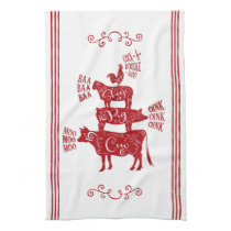 Farmhouse Animals Tower with Scrolls Hand Towel