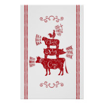 Farmhouse Animals Tower with Scrolls Red Poster