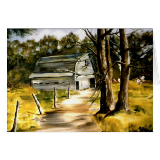 Farmhouse Barn in Wooded Landscape Oil Painting Card