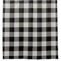Farmhouse Black Buffalo Check Shower Curtain