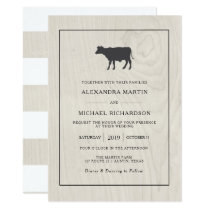 Farmhouse Chic | White Wood with Cow Wedding Card