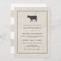Farmhouse Chic | White Wood with Cow Wedding Invitation