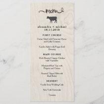 Farmhouse Chic | White Wood with Cow Wedding Menu