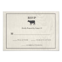 Farmhouse Chic | White Wood with Cow Wedding RSVP Card