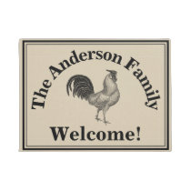 Farmhouse Chicken Custom Family Rustic Welcome Doormat