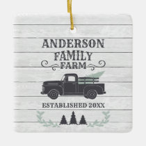 Farmhouse Christmas Tree Family Farm Personalized Ceramic Ornament
