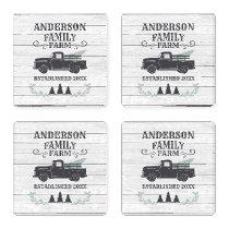 Farmhouse Christmas Tree Family Farm Personalized Coaster Set