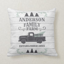 Farmhouse Christmas Tree Family Farm Personalized Throw Pillow