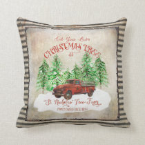 Farmhouse Christmas Tree Farm Red Truck Vintage Throw Pillow