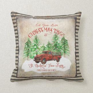 Farmhouse Christmas Tree Farm Red Truck Vintage Throw Pillow