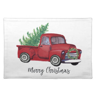 Vintage Red Truck Christmas Placemats.Farmhouse Christmas Watercolor Red Truck Cloth Placemat