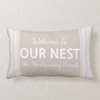 Farmhouse Country Welcome To Our Nest Family Name Lumbar Pillow