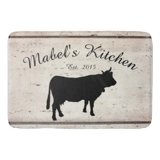 Farmhouse Cow Monogram Kitchen Mat