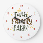 "Farmhouse, ""Faith Family, Farm"" Large Clock"