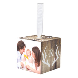 Farmhouse Family Photo & Deer Antlers Initial Cube Ornament