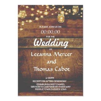 Farmhouse Glam Rustic Wood Wedding Invitation