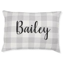 Farmhouse Gray Buffalo Check Monogram Dog Bed