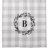 Farmhouse Gray Buffalo Check Monogram Shower Curtain