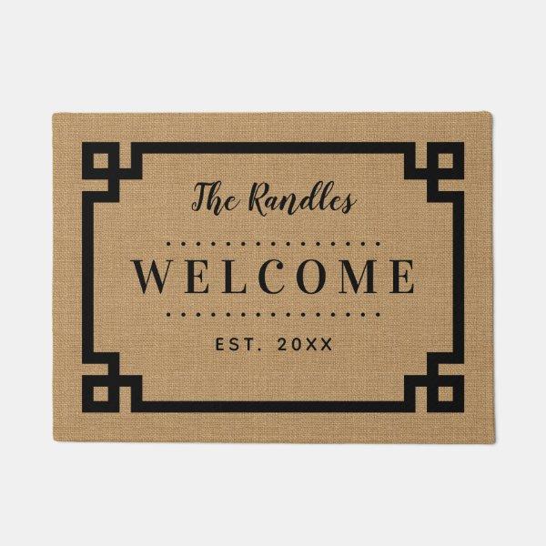 Farmhouse Greek Key Family Monogram Doormat