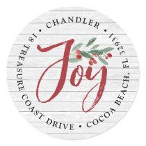 Farmhouse Holly | Holiday Return Address Classic Round Sticker